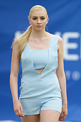 LIVERPOOL, ENGLAND - Thursday, June 18, 2015: Jess Taylor models during a fashion show during Day 2 of the Liverpool Hope University International Tennis Tournament at Liverpool Cricket Club. (Pic by David Rawcliffe/Propaganda)