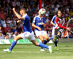 Brentford's Jota shoots - Mandatory by-line: Robbie Stephenson/JMP - 07966386802 - 08/08/2015 - SPORT - FOOTBALL - Brentford,England - Griffin Park - Brentford v Ipswich Town - Sky-Bet Championship
