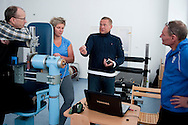(L-R) prof. Krzysztof Busko (departament biomechanics from Institute of Sport) and Anita Wlodarczyk and Krzysztof Kaliszewski trainer coach and engineer Zbigniew Staniak (Institute of Sport) while training session at Institute of Sport in Warsaw.<br /> Anita Wlodarczyk is a Polish hammer thrower and a former world record holder with 78.30 m.<br /> <br /> Poland, Warsaw, January 29, 2014<br /> <br /> Picture also available in RAW (NEF) or TIFF format on special request.<br /> <br /> For editorial use only. Any commercial or promotional use requires permission.<br /> <br /> Mandatory credit:<br /> Photo by © Adam Nurkiewicz / Mediasport