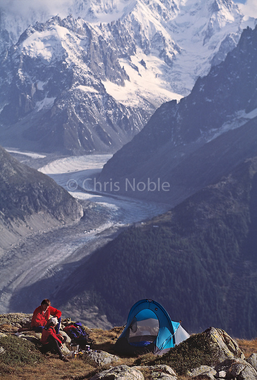 Kitty Calhoun and Alex Lowe at a campsite above the Mer du Glace, Chamonix, France