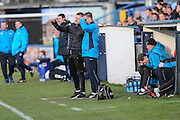 Forest Green Rovers manager, Mark Cooper and Forest Green Rovers assistant manager, Scott Lindsey during the FA Trophy match between Macclesfield Town and Forest Green Rovers at Moss Rose, Macclesfield, United Kingdom on 4 February 2017. Photo by Shane Healey.