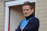 AFC Wimbledon Manager Neal Ardley looking focused prior the Sky Bet League 2 play-off 2nd leg match between Accrington Stanley and AFC Wimbledon at the Fraser Eagle Stadium, Accrington, England on 18 May 2016. Photo by Stuart Butcher.