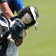 A Bubba Watson mascot on the golf bag of Bubba Watson during the second round of the Travelers Championship at the TPC River Highlands, Cromwell, Connecticut, USA. 20th June 2014. Photo Tim Clayton
