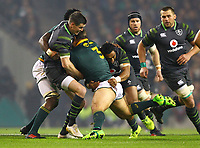 Rugby Union - 2017 Guinness Series (Autumn Internationals) - Ireland vs. South Africa<br /> <br /> Ireland's Johnny Sexton and Bundee Aki tackles South Africa's Coenie Oosthuizen at the Aviva Stadium.<br /> <br /> COLORSPORT/KEN SUTTON