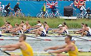Eton Dorney, Windsor, Great Britain,..2012 London Olympic Regatta, Dorney Lake. Eton Rowing Centre, Berkshire[ Rowing]...Description;  Men's Eights Final..GER.M8+. Filip ADAMSKI (b) , Andreas KUFFNER (2) , Eric JOHANNESEN (3) , Maximilian REINELT (4) , Richard SCHMIDT (5) , Lukas MUELLER (6) , Florian MENNIGEN (7) , Kristof WILKE (s) , Martin SAUER (c).CAN.M8+.  Gabriel BERGEN (b) , Douglas CSIMA (2) , Rob GIBSON (3) , Conlin MCCABE (4) , Malcolm HOWARD (5) , Andrew BYRNES (6) , Jeremiah BROWN (7) , Will CROTHERS (s) , Brian PRICE (c).GBR.M8+ Alex PARTRIDGE (b) , James FOAD (2) , Tom RANSLEY (3) , Richard EGINGTON (4) , Mohamed SBIHI (5) , Greg SEARLE (6) , Matt LANGRIDGE (7) , Constantine LOULOUDIS (s) , Phelan HILL (c).USA.M8+ David BANKS (b) , Grant JAMES (2) , Ross JAMES (3) , William MILLER (4) , Giuseppe LANZONE (5) , Stephen KASPRZYK (6) , Jacob CORNELIUS (7) , Brett NEWLIN (s) , Zachary VLAHOS (c).NED.M8+. Sjoerd HAMBURGER (b) , Diederik SIMON (2) , Rogier BLINK (3) , Matthijs VELLENGA (4) , Roel BRAAS (5) , Jozef KLAASSEN (6) , Olivier SIEGELAAR (7) , Mitchel STEENMAN (s) , Peter WIERSUM (c).AUS.M8+. Matthew RYAN (b) , Francis HEGERTY (2) , Cameron MCKENZIE MCHARG (3) , Bryn COUDRAYE (4) , Thomas SWANN (5) , Joshua BOOTH (6) , Samuel LOCH (7) , Nicholas PURNELL (s) , Tobias LISTER (c)  Dorney Lake. 12:35:48  Wednesday  01/08/2012.  [Mandatory Credit: Peter Spurrier/Intersport Images].Dorney Lake, Eton, Great Britain...Venue, Rowing, 2012 London Olympic Regatta...