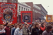 Barrow, Frickley and Church Lane Dodworth NUM Branch banners, Yorkshire Miners Gala Wakefield.