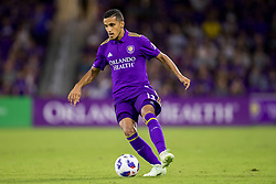 August 4, 2018 - Orlando, FL, U.S. - ORLANDO, FL - AUGUST 04: Orlando City defender Mohamed El-Munir (13) with the ball during the soccer match between the Orlando City Lions and the New England Revolution on August 4, 2018 at Orlando City Stadium in Orlando FL. (Photo by Joe Petro/Icon Sportswire) (Credit Image: © Joe Petro/Icon SMI via ZUMA Press)