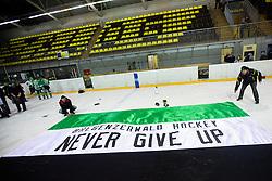 Flag of EHC Bregenzerwald during 5th game of final INL league ice hockey match between HK Playboy Slavija and EHC Bregenwald at Dvorana Zalog, on April 3, 2013, in Ljubljana, Slovenia. (Photo by Matic Klansek Velej / Sportida)