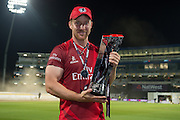 Steven Croft with the Natwest t20 Trophy NatWest T20 Blast final match between Northants Steelbacks and Lancashire Lightning at Edgbaston, Birmingham, United Kingdom on 29 August 2015. Photo by David Vokes.