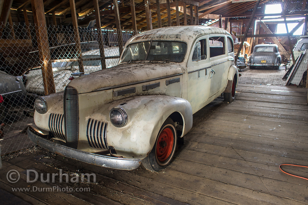 An old ambulance in a warehouse in Shaniko, Oregon.