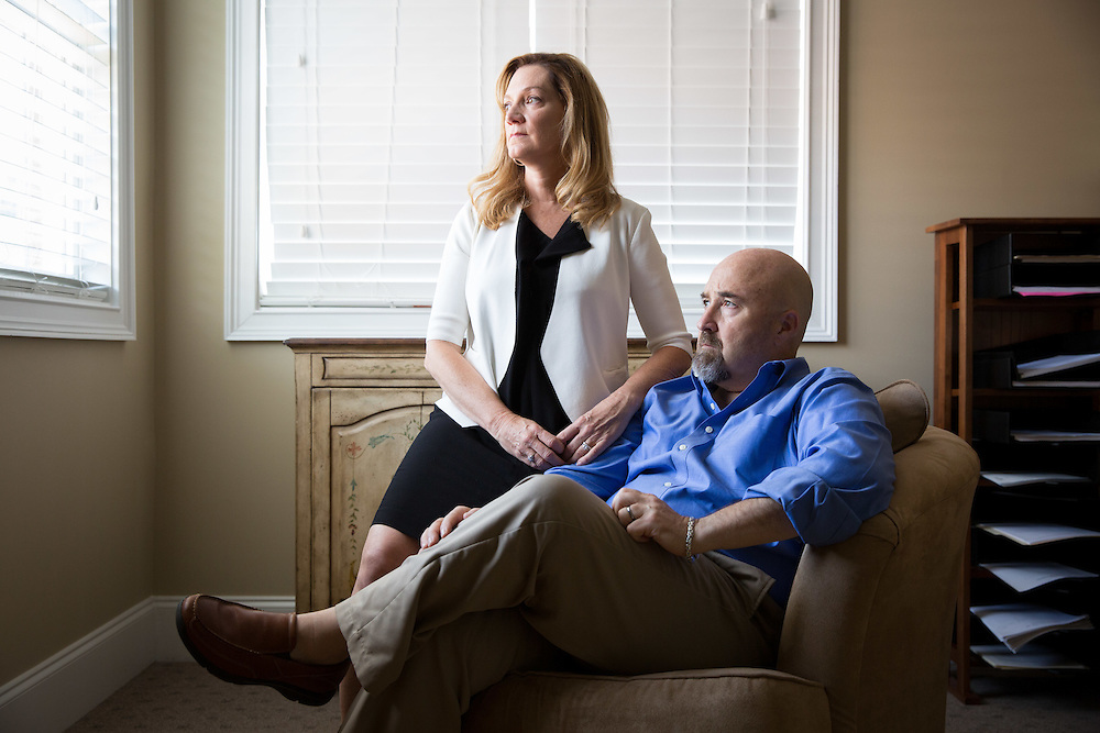 Carey Davidson and Heather Hayes, a married couple who are both interventionists, pose for a portrait in Mrs. Hayes office building  in Cumming, Ga. on Tuesday, July 28, 2015. They are whistleblowers about corruption in their industry, including rehab centers and providers. Photo by Kevin Liles for The New York Times