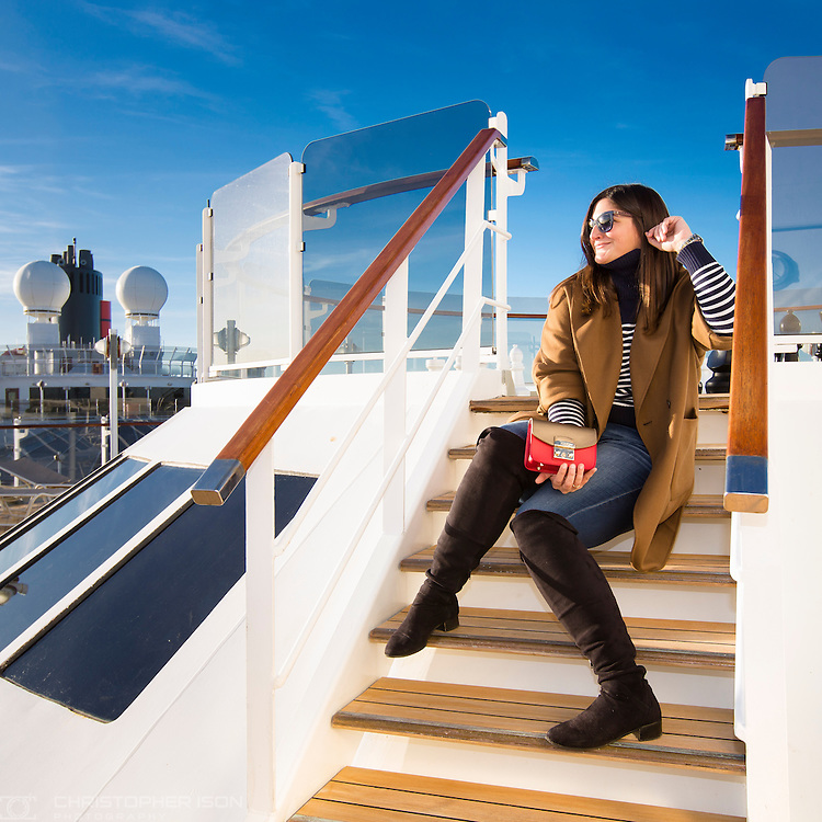 Emily Johnston (fashionfoiegras) on board Cunard's Queen Elizabeth in Southampton with a Furla MyPlay handbag.<br /> Picture date: Tuesday January 3, 2017.<br /> Photograph by Christopher Ison &copy;<br /> 07544044177<br /> chris@christopherison.com<br /> www.christopherison.com