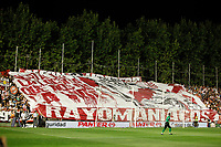 Rayo Vallecano´s supporters holding a banner during 2014-15 La Liga match at Vallecas stadium. August 25, 2014. (ALTERPHOTOS/Victor Blanco)