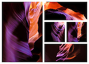 Taken in Antelope Canyon, Arizona thes multi-piece installations called connections are photography fused onto metal.