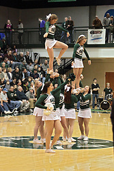 01 March 2014:  Illinois Wesleyan Titan Cheerleaders during an NCAA mens division 3 CCIW  Championship basketball game between the Wheaton Thunder and the Illinois Wesleyan Titans in Shirk Center, Bloomington IL