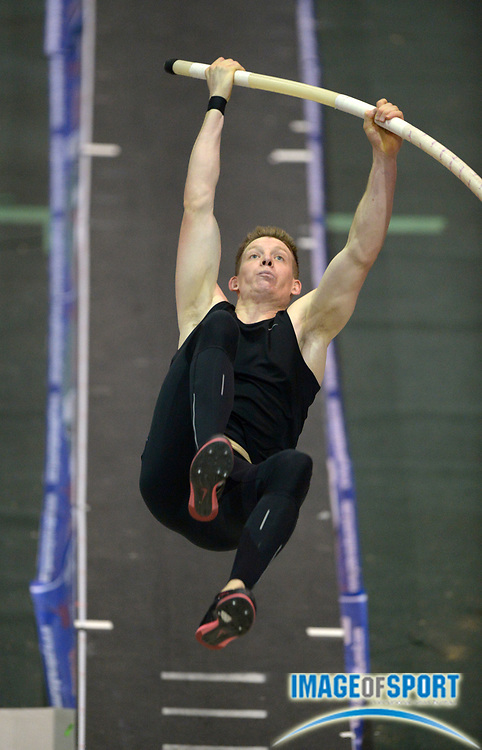 Jan 17, 2014; Reno, NV, USA; Michael Arnold (USA) places third in the 25th UCS Spirit National Pole Vault Summit with a clearance of 18-4 1/2 (5.60m) at Reno Events Livestock Center.