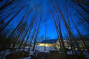 Butternut Mountain Farm Maple Sugaring at twilight, Johnson, Vermont.