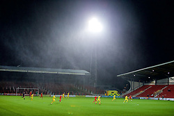 WREXHAM, WALES - Tuesday, November 17, 2015: Storm Barney rages as Wales take on Romania during the UEFA Under-21 Championship Qualifying Group 5 match at the Racecourse Ground. (Pic by David Rawcliffe/Propaganda)