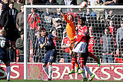 Walsall forward Jordy Hiwula  during the Sky Bet League 1 match between Walsall and Southend United at the Banks's Stadium, Walsall, England on 16 April 2016. Photo by Chris Wynne.