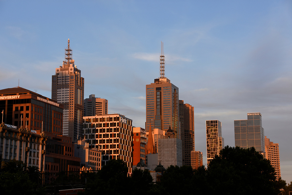 The Sun setting on the Buildings of Melbourne