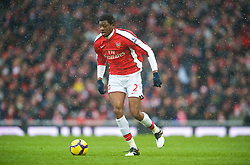 LONDON, ENGLAND - Saturday, January 9, 2010: Arsenal's Abou Diaby in action against Everton during the Premiership match at the Emirates Stadium. (Photo by David Rawcliffe/Propaganda)