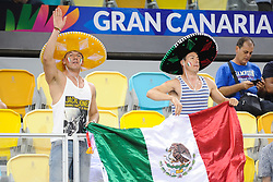 Fans of Mexico during basketball match between National Teams of Slovenia and Mexico in Round 2 of Group D of FIBA Basketball World Cup Spain 2014, on August 31, 2014 in Gran Canaria Arena, Las Palmas, Canary Islands. Photo by Tom Luksys  / Sportida.com <br /> ONLY FOR Slovenia, France