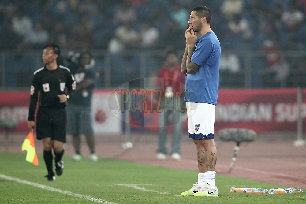 Chennaiyin FC coach Marco Materazzi react during match 12 of the Hero Indian Super League between The Delhi Dynamos FC and Chennaiyin FCheld at the Jawaharlal Nehru Stadium, Delhi, India on the 25th October 2014.<br /> <br /> Photo by:  Deepak Malik/ ISL/ SPORTZPICS