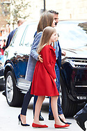 Queen Letizia of Spain, Princess Sofia attended the Easter Mass at the Cathedral of Palma de Mallorca on April 16, 2017 in Palma de Mallorca, Spain.