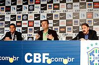 20100511: RIO DE JANEIRO, BRAZIL - Brazil's National Team coach Carlos Dunga announces Brazilian team list for 2010 World Cup. In picture: Carlos Dunga (head coach, C) and Jorginho (assistant coach, L). PHOTO: CITYFILES
