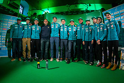 Ski Jumpers and Branko Tamse during press conference of Slovenian Men and Woman national Ski Jumping team, on November 28, 2017 in Pivovarna Union, Ljubljana, Slovenia. Photo by Ziga Zupan / Sportida