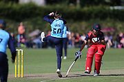 Yorkshire Diamonds Linsey Smith has to jump during the Vitality T20 Blast North Group match between Lancashire Thunder and Yorkshire Vikings at Liverpool Cricket Club, Liverpool, United Kingdom on 13 August 2019.