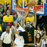 04 June 2017: Cleveland Cavaliers forward Channing Frye (8) is blocked by Golden State Warriors forward Andre Iguodala (9) during the Golden State Warriors 132-113 victory over the Cleveland Cavaliers, in game 2 of the 2017 NBA Finals, at the Oracle Arena, Oakland, California, USA.