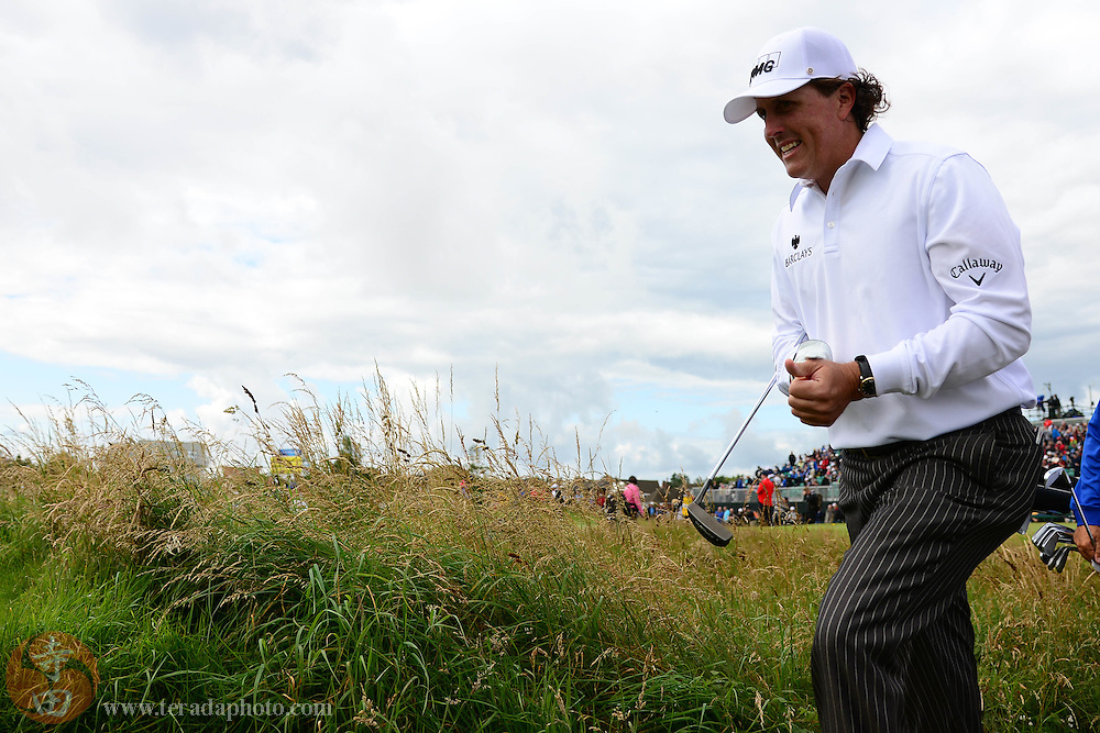 July 20, 2012; St. Annes, ENGLAND; Phil Mickelson walks to the green on the 5th hole during the second round of the 2012 British Open Championship at Royal Lytham & St. Annes Golf Club.