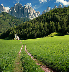 Church in San Giovanni at the base of the Dolomites