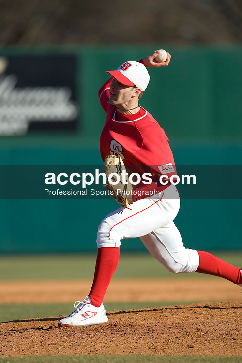 11 February 2007: North Carolina State Wolfpack baseball pitcher Eryk McConnell (39) in a 6-3 win over the William and Mary Tribe at Doak Field in Raleigh, NC.