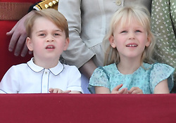 Members of The Royal Family attend Trooping the Colour 2018 at Buckingham Palace, London, UK, on the 9th June 2018. 09 Jun 2018 Pictured: Prince George, Isla Phillips. Photo credit: James Whatling / MEGA TheMegaAgency.com +1 888 505 6342