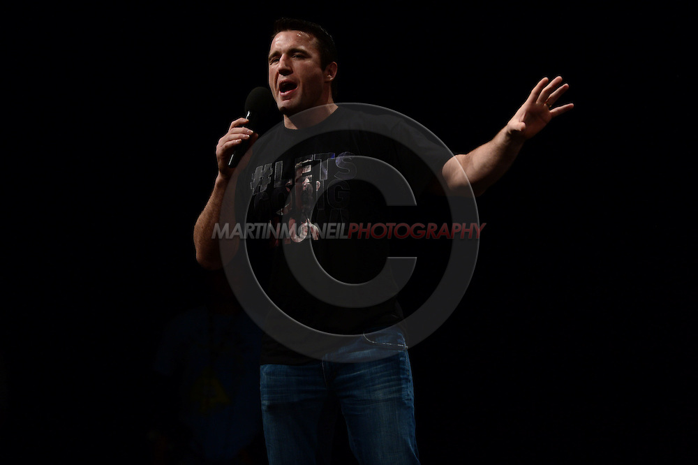 """MANCHESTER, ENGLAND, NOVEMBER 25, 2013: Chael Sonnen answers fan questions during a Q&A session ahead of the official weigh-in for """"UFC Fight Night 30: Machida vs. Munoz"""" inside Mancheter Central Convention Center in Manchester, England (Martin McNeil for ESPN)"""