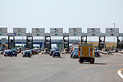 Highway toll booths on exiting A1 Napoli Rome Autostrada near Rome, Italy, July 2006