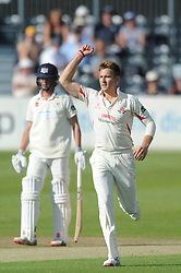 Kyle Jarvis for Lancashire Cricket celebrates after Chris Dent of Gloucestershire is caught out from his bowl - Photo mandatory by-line: Dougie Allward/JMP - Mobile: 07966 386802 - 07/06/2015 - SPORT - Football - Bristol - County Ground - Gloucestershire Cricket v Lancashire Cricket - LV= County Championship