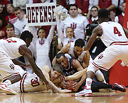 Hoosiers  Hanner Mosquera-Perea, Collin Hartman, James Blackmon Jr. and Robert Johnson battle with Eastern Washington Eagles guard Drew Brandon for a loose ball in the second half. Indiana hosted Eastern Washington at Assembly Hall on Monday, November 24, 2014.