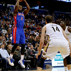 Dec 11, 2013; New Orleans, LA, USA; Detroit Pistons shooting guard Rodney Stuckey (3) against the New Orleans Pelicans during the second half at New Orleans Arena. The Pelicans defeated the Pistons 11-106 in overtime. Mandatory Credit: Derick E. Hingle-USA TODAY Sports