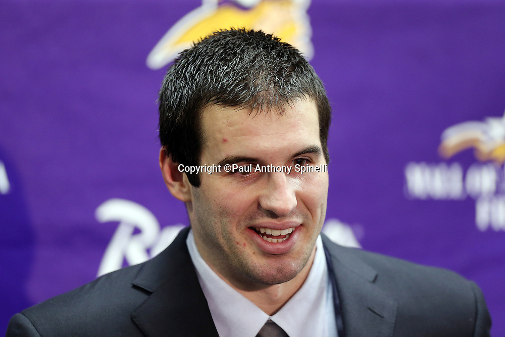 Minnesota Vikings quarterback Christian Ponder (7) smiles during a post game press conference after the NFL week 15 football game against the St. Louis Rams on Sunday, Dec. 16, 2012 in St. Louis. The Vikings won the game 36-22. ©Paul Anthony Spinelli
