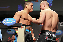 September 30, 2011; Washington D.C.; USA; Pat Barry (left) and Stefan Struve (right) pose after weighing in for their upcoming bout at UFC on Versus 6 at the Verizon Center.