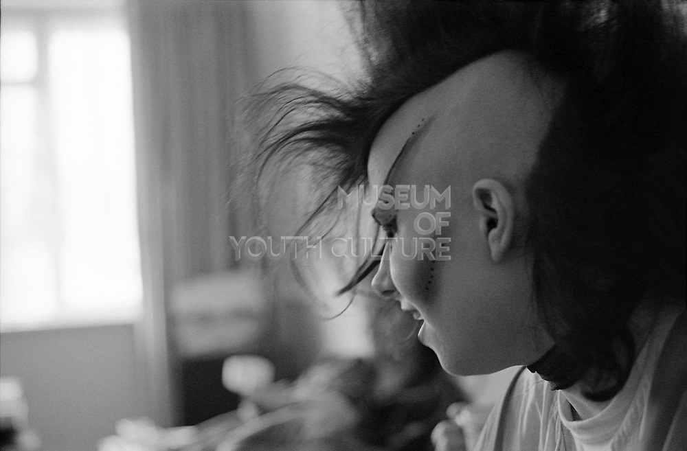 Chigwell Punk Girl in Room, Chigwell, London, UK, 1980s.