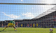 Rotherham United defender (on loan to Brighton last season) Greg Halford (15) scores penalty to go 2-1 up  during the Sky Bet Championship match between Rotherham United and Leeds United at the New York Stadium, Rotherham, England on 2 April 2016. Photo by Ian Lyall.