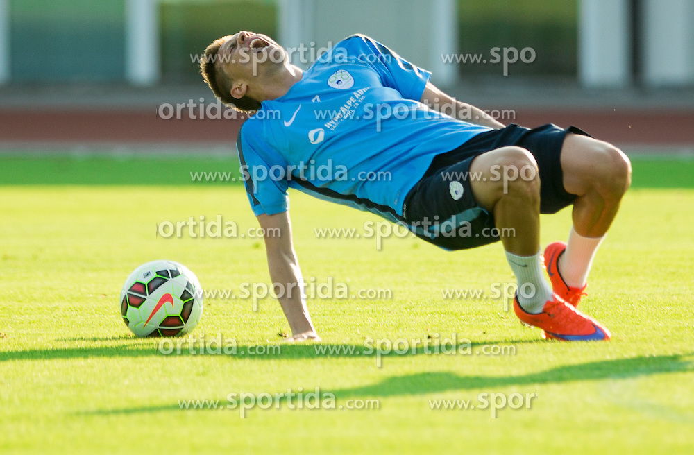 Josip Ilicic injured by Miral Samardzic during practice session of Slovenian National Football Team before Euro 2016 Qualifications match against England, on June 10, 2015 in Kranj, Slovenia. Photo by Vid Ponikvar / Sportida