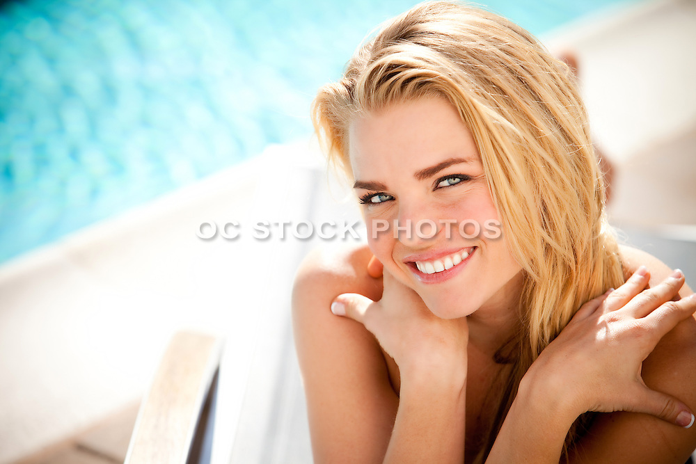 Sexy Blonde Girl at the Pool