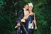 It's Prince Charming and The Half Naked Chef again, this time bonding outdoors, Posh at Addington Palace, UK, August, 2004