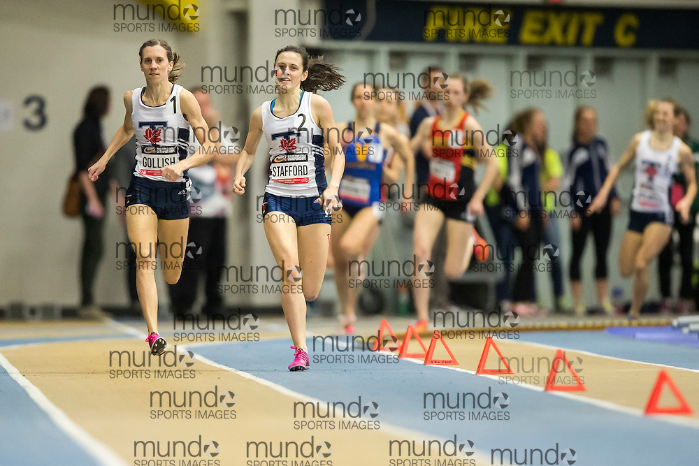 Windsor, Ontario ---2015-03-13--- Sasha Gollish, left, of Toronto edges out teammate Gabriela Stafford for the gold in the 1000M at the 2015 CIS Track and Field Championships in Windsor, Ontario, March 15, 2015.<br /> GEOFF ROBINS/ Mundo Sport Images