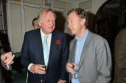 Left to right, ANDREW PARKER BOWLES and GEORDIE GREIG at a party hosted by Ewan Venters CEO of Fortnum & Mason to celebrate the launch of The Cook Book by Tom Parker Bowles held at Fortnum & Mason, 181 Piccadilly, London on 18th October 2016.